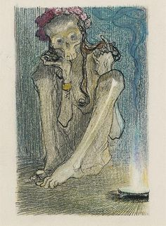 Heinrich Kley (1863 - 1945) ... Garlanded Death, chalk, gouache and ink drawing on paper