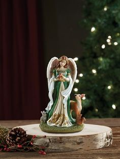 Woodland Christmas Angel Figure With Deer