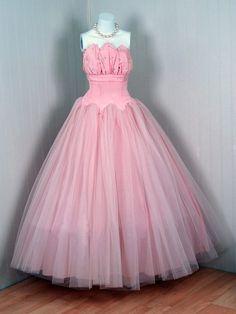 Vintage 1950's Pink Tulle Dress