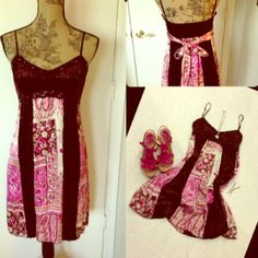 Beautiful Brown Trimmed & Pink Blush Dress Sexy embellished dress with velvet trim and an A-line style that will make anyone look astonishing! Straps are adjustable and ties in back for a perfect fit. Dresses