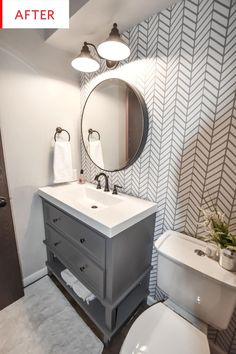 half Bathroom Decor Dark and Dated to Bright and Modern - Powder Bath Remodel - CH Design Co. Diy Bathroom Remodel, Bathroom Renos, Bathroom Layout, Bathroom Cabinets, Bathroom Designs, Bathroom Makeovers, Tub Remodel, Master Bathroom, Bathroom Modern