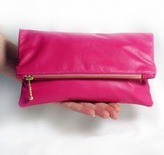 Small Pink Leather Bag  Foldover Zipper Clutch by dodotoronto, $55.00
