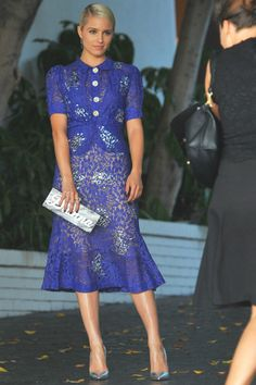 Dianna Agron wearing Christian Louboutin So Kate Pumps in Silver and Edie Parker Customizable Flavia Clutch