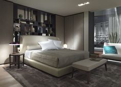 Flexform Mood, made in Italy: Lauren bed, project by Roberto Lazzeroni. Modern Master Bedroom, Home Bedroom, Bed Furniture, Luxury Furniture, Home Interior Design, Interior Architecture, Mens Bedding Sets, Round Beds, Headboard And Footboard
