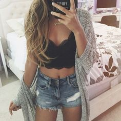 Denim + Lace :: Boho Style :: Shorts + Cardigans :: Jackets :: Ripped Jeans :: Distressed + Tan :: Free your Wild :: See more Untamed Denim Style Inspiration @untamedorganica