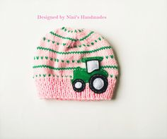 "Girls Knit Tractor Hat-All hats are $17.50 plus 10% discount Code: ""GRANDOPENING"" And wait for it...there is a BOGO special in my shop on top of all this as well!!! #beanie sale #ninishandmades #buy handmade #wholesale kids #kids apparel handmade #handmade in the USA #quality kids apparel made in the usa #artisan handmade kids apparel #Hats #beanies #caps #baby hats #baby shower gift #applique beanies #kids outerwear #winter hats #photoprop #Toddler apparel #baby apparel #bogo #sale"