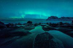 a wonderful aurora over the beach of uttakleiv on the lofoten islands in northern norway Aurora Borealis, Lofoten, Norway, Northern Lights, Mountains, Beach, Nature, Travel, Sketching