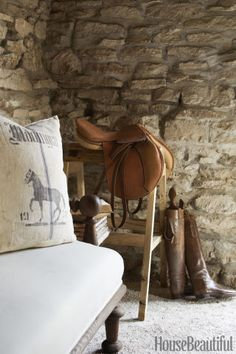 The husband, a retired professional baseball player, gave his wife the Hermès jumping saddle as a gift. Design by Annie Brahler-Smith. This Is the Fanciest Stable Weve Ever Seen, House Beautiful (June