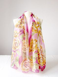 Pink scarf  hand painted silk scarf  Roses scarf  silk by MinkuLUL