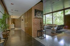 Mid Century Modern in Fort Worth, Texas by Samuel G. Wiener, Sr. Entry Hall and living room.