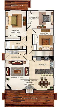 Plano de vivienda de 8m x 10m planos de casas gratis y for Log home planimetrie