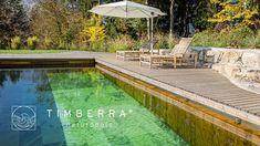 Timberra Naturpools werden aus dem Vollholz der Weißtanne gebaut. Ein biologisch-mechanischer Filter sorgt für natürliches Wasser ohne chemische Zusätze. Filter, Water Purification, Sustainability, Timber Wood, Lawn And Garden, Philtrum