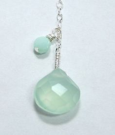 seafoam blue and silver necklace