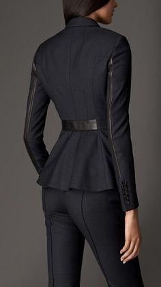 Jaqueta em lã virgem com detalhes em couro | Burberry