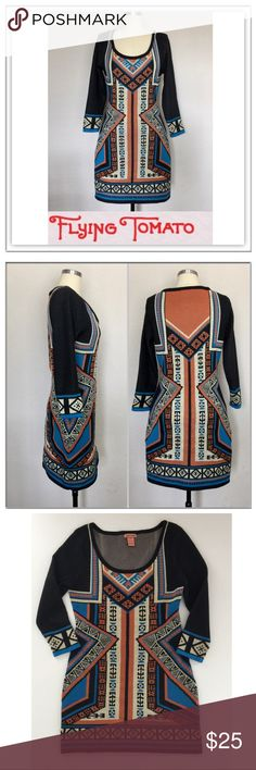 """FLYING TOMATO Aztec Knit Dress - Medium Flying Tomato Dress Blue, Orange and Black Southwestern Aztec soft knit Polyester Sweater Dress in excellent condition  - Length: 34"""" - Bust: 18"""" - Waist: 15"""" Flying Tomato Dresses Long Sleeve"""