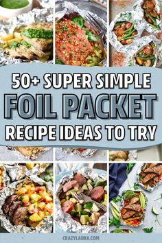 If you need a quick and easy meal for the family or next time you're camping... these awesome foil packet recipes, for both the grill and oven, will help you whip up dinner in no time Steak Foil Packets, Grilled Foil Packets, Chicken Foil Packets, Hobo Packets, Salmon Foil Packets, Tin Foil Dinners, Foil Packet Dinners, Foil Pack Meals, Foil Packet Recipes