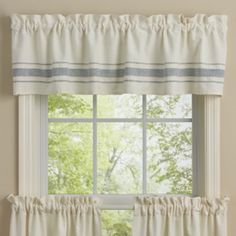 """The Summer Breeze Valance features classic linen feel vintage styling with a denim blue grain sack accent stripe with top stitching. Perfect for your country or farmhouse decor. Unlined. FEATURES Antique White and Denim Blue Unlined Hem fold Machine stitched SPECIFICATIONS Material: 100% Cotton Dimensions: 60""""W x 14""""L Header: 1.5"""" ruffle and 2"""" rod pocket Colors: Denim Blue, Antique White"""