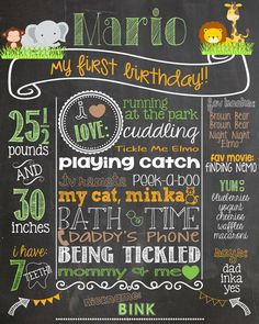 Jungle Safari First Birthday Chalkboard by PersonalizedChalk, $30.00
