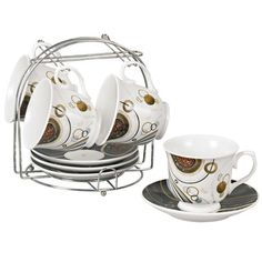 Coffee Bean Porcelain 9-piece Cup/ Saucer Set on Stand