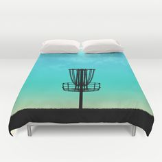 You know you are die hard disc golfer when you have the bed spread design of the Disc Golf Basket Silhouette. ...just sayin'
