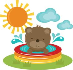 Bear In Pool SVG cut files for scrapbooking bear svg file beach svg file free svgs summer svg cuts