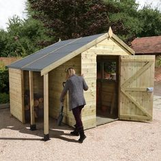 Our traditional, high quality 8x6ft shed with logstore provides a spacious storage environment for all your garden tools, equipment and whatever else needs storing away!  If the 8x6 wooden shed space wasn't enough, the lean-to roof provides a further 3ft of storage space. Lean-to sheds, with a lock and key facility, allow you to securely protect your valuable and larger items. For example, the external storage space can provide shelter for a bag of logs, or even your bicycle or lawn mower…