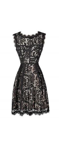 915df8744428 Floral Lace A-Line Dress in Black Beige