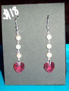 Indian Pink Heart Drop Earrings with by JulieBelleJewelry on Etsy, $18.00