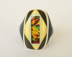 1920s Art Deco celluloid ring / prison ring /