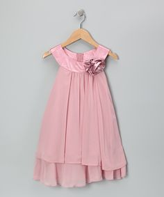 Pink Flower Yoke Dress - Toddler & Girls $26 zulily