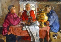 Since childhood, Vladimir Stozharov showed love for the national culture. He often traveled to the cities and suburbs of Russia, where he observed the life Russian Culture, Tea Culture, Russian Tea, Socialist Realism, Soviet Art, Ukrainian Art, Tea Art, Tea Ceremony, Les Oeuvres