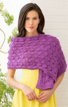 Radiant Look Shawl Free Knitting Pattern from Red Heart Yarns