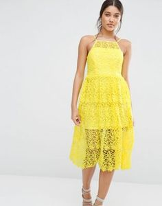 River Island Premium Lace Midi Prom Dress