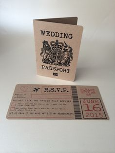 Rustic Passport Wedding Invitation and Boarding Card RSVP card for destination weddings abroad.