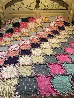 Rag quilt I made for my king size bed
