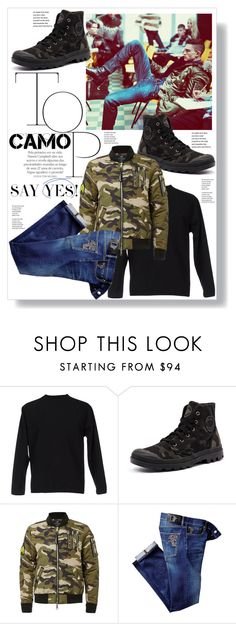 """""""Say yes to Camouflage Menswear!"""" by captainsilly ❤ liked on Polyvore featuring Dsquared2, Camo, Palladium, Topman, Versace, men's fashion and menswear"""