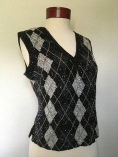 Vintage black beaded silk blouse argyle by twinflamesboutique