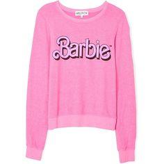 Wildfox Barbie My Resume Long Sleeve Sweatshirt (175 CAD) ❤ liked on Polyvore featuring tops, hoodies, sweatshirts, sweaters, jumper, long sleeves, pink, sweat shirts, long sleeve tops e pink sweatshirt