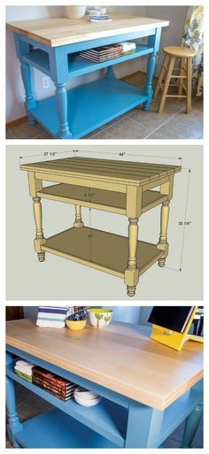 Decoration Kitchen - How To: Build a Faux Butcher Block Kitchen Island :: Free Plans at buildsomethin. Kitchen Island Table, Diy Kitchen Cabinets, Kitchen Furniture, Kitchen Decor, Kitchen Design, Kitchen Islands, How To Build Kitchen Island, Kitchen Island Building Plans, Kitchen Prep Table