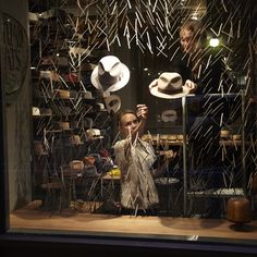 Hat store window design
