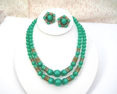 Green Moonglow Beads Necklace & Clip Earrings by AtticDustAntiques