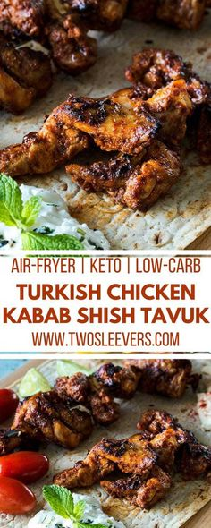 Tavuk Shish - Turkish Chicken Kababs made in the Air Fryer Chicken Appetizers, Low Carb Appetizers, Chicken Recipes, Kebab Recipes, Appetizer Recipes, Appetizer Ideas, Dinner Recipes, Low Carb Recipes, Cooking Recipes