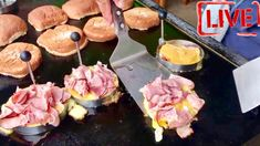 Blackstone Street Food - Ham and Cheese Sandwich On A Flat Top Griddle Flat Top Griddle, Griddle Grill, Grilling Recipes, Cooking Recipes, Burger Recipes, Vegetarian Recipes, Outdoor Griddle Recipes, Grilled Ham And Cheese, Recipes