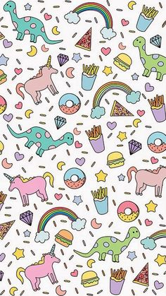 Unicorns, dinosaurs, donuts, burgers, and fries pattern