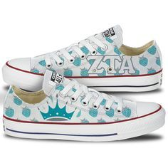 Zeta Tau Alpah Converse - This pair of classic oxford low tops features the Zeta Tau Alpha letter proudly displayed in Steel Gray on the inside panels along with a fun turquoise blue Crown and Strawbe