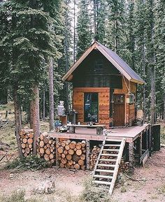 """Tiny houses are trending, but what about """"tiny cabins?"""" Check out this awesome setup in the Colorado wilderness."""