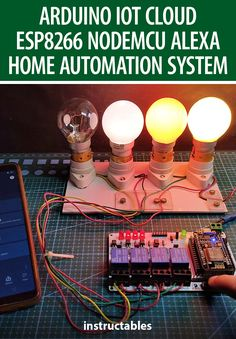 techstudycell made an IoT-based Smart Home with Arduino IoT Cloud & Alexa using NodeMCU ESP8266 to control 4 home appliances with voice commands. #Instructables #electronics #technology #circuit #microcontroller Useful Arduino Projects, Iot Projects, Home Automation Project, Home Automation System, Alexa Home, Web Dashboard, Control 4, Alexa App, Alexa Device