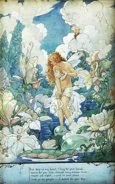 You'll love the 'Water Fairy' by Harold Gaze Painting Print at Wayfair. The rich colors on this fairy fantasy art print are so delightful. Art And Illustration, Book Illustrations, Water Fairy, Art Manga, Vintage Fairies, Vintage Mermaid, Photo D Art, Fairytale Art, Alphonse Mucha