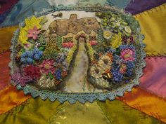 Cottage silk ribbon embroidery by Terri Takacs  www.lavenderbetweenthecracks.blogspot.com