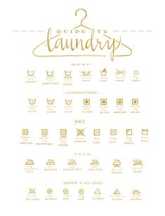 This hand drawn white and gold illustrated Guide To Laundry helps you to…